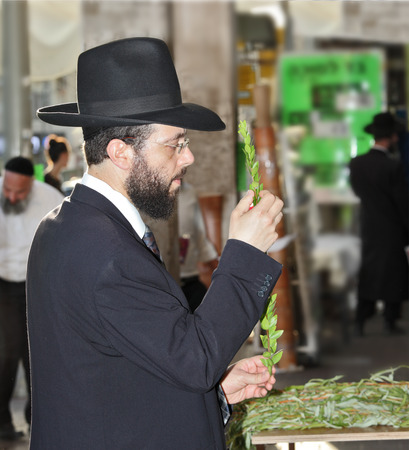 sukkoth festival: BNEY-BRAK, ISRAEL - SEPTEMBER 17, 2013:  Grand Bazaar on the eve of the Jewish holiday. Handsome young man in a black hat chooses ritual plant - myrtle Editorial