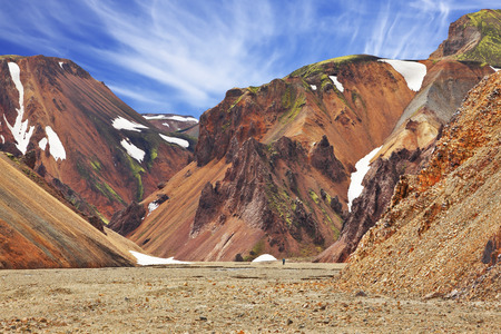 hollows:  Colorful smooth mountains in the Icelandic reserve Landmannalaugar. In the hollows is last years snow. Rhyolite mountains Stock Photo