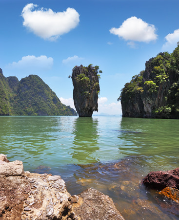 james bond's island: James Bonds magnificent island. Island-vase in a shallow lagoon of the southern sea. Thailand