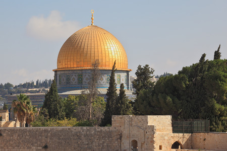 omar: The mosque of Omar, Jerusalem, Israel. The golden dome shines in the morning sun.