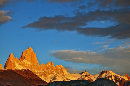 fitzroy: The magnificent sunrise over Mount Fitzroy in Patagonia.