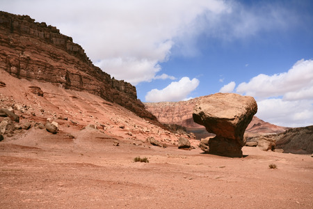 giant mushroom: American rock desert. The famous giant mushroom of red sandstone, glowing clouds, midday shadows