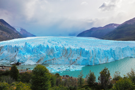 glaciares: Los Glaciares National Park in Argentina. Colossal Perito Moreno glacier in Lake Argentino.  Windy summer day