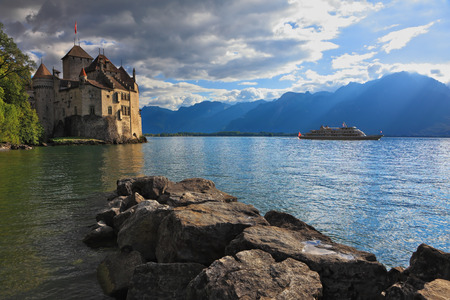 chillon: The beginning of autumn in Montreux, Switzerland. Lake Leman in fine weather