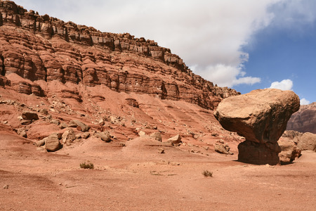 giant mushroom: American desert. The famous giant mushroom of red sandstone and dazzling sun