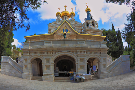 mount of olives: Mount of Olives in Jerusalem. One of the entrances to the church of St. Mary Magdalene