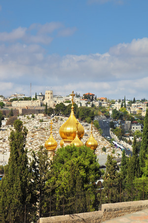 mount of olives: Golden domes of the Church of St. Mary Magdalene. Mount of Olives in Jerusalem