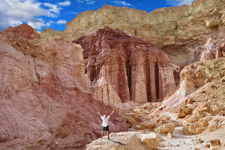 enthusiastically: Tourist in shorts and bandana enthusiastically raised his hands. The natural Amram pillars of pink sandstone