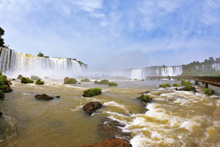 thundering: Fantastically spectacular boiling and thundering waterfalls of Iguazu. Waterfalls in Brazil. The picture was taken Fisheye lens Stock Photo