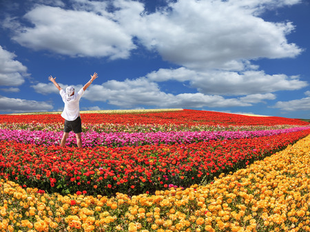 Enthusiastic tourist threw up his hands. Bright festive red blooming field of buttercups. Warm spring day