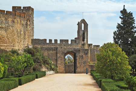 knights templar: The entrance to the fortress of the Knights Templar. Fortress protective wall surrounding the dilapidated medieval castle Templar