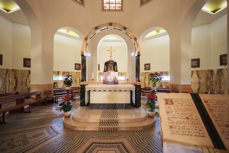 the sermon: Church Sermon on the Mount - Mount of Beatitudes. The interior with a central altar