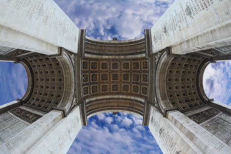 winning location: Spectacular angle Arc de Triomphe in Paris. Photo was taken Fisheye lens Stock Photo