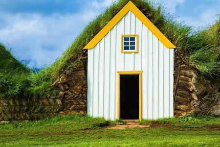 pioneers: The recreated village - the museum of pioneers - Vikings. The village of ancestors in Iceland. Houses are roofed by the turf Editorial