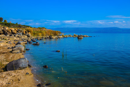 Sea of Galilee in Israel. On the lake, Jesus Christ showed people miracles. The Church of the Primacy - Tabgha
