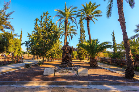 galilee: Statue of St. Peter in a beautiful park on the shores of the Sea of Galilee.