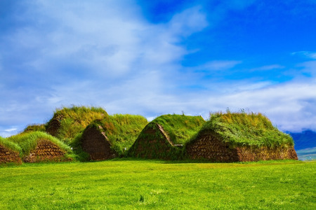 reconstituted: The reconstituted village, Pioneer Museum Viking. The village first settlers in Iceland Stock Photo