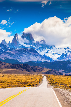 fitzroy: The highway crosses Patagonia and conducts to snow-covered top of Mount Fitzroy. The road through the desert