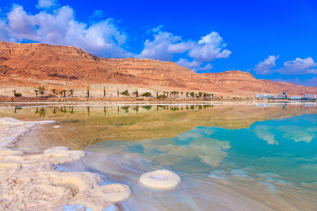 acts: Decrease in water level in the Dead Sea. The evaporated salt acts over a water surface beautiful patterns