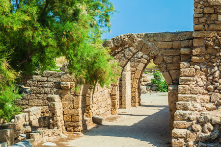 perfectly: Perfectly remained ancient arch overlappings of malls. National park Caesarea on the Mediterranean Sea. Israel