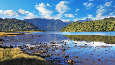 Stony shallows. A wonderful summer day in the shallow river. Chilean Patagonia, the road Carretera Austral Stock fotó