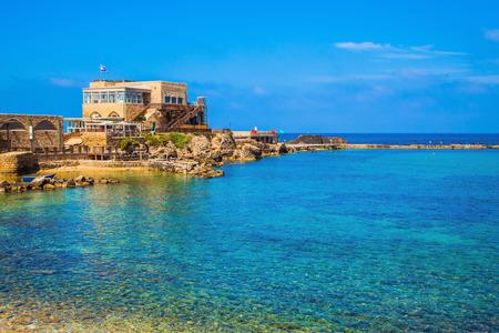 caesarea: National park Caesarea on the Mediterranean. Israel. The restored castle on the sea spit