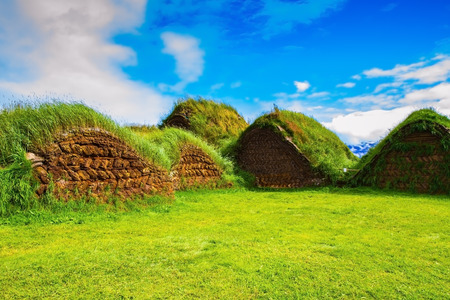 reconstituted: Backyard rural houses. The reconstituted village - Pioneer Museum - Viking. The village first settlers in Iceland