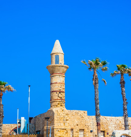 caesarea: Minaret and fortifications of the Arab period Caesarea. National park Caesarea on the Mediterranean Sea