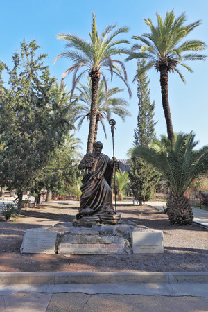 galilee: Huge beautiful statue depicts St. Peter with the keys. Christian monastery and church in Galilee, Israel Editorial