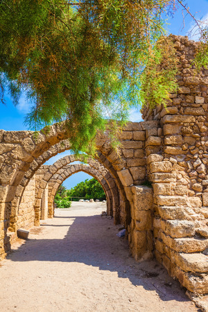 caesarea: Ancient arched ceiling of stalls. National park Caesarea on the Mediterranean. Israel