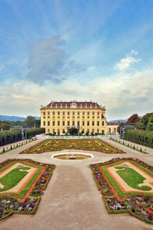 nbrunn: Area with flower beds regular geometric forms. Schönbrunn - the summer residence of the Austrian Habsburgs Editorial