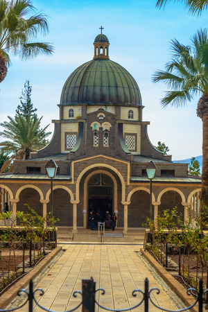 sermon: Church Sermon on the Mount - Mount of Beatitudes. Beautiful park of cypress and palm trees Stock Photo