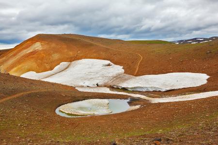smoldering: July in Iceland. Smoldering underground heat hillsides. In the hollows are last years snow fields Stock Photo