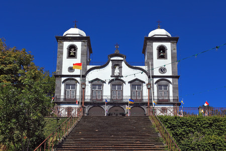 madeira: Attractions Portuguese island of Madeira. The magnificent white church of Nossa Senhora do Monte.