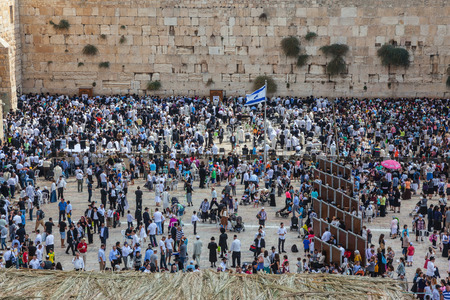 sukkoth: The Jewish holiday of Sukkot,  Jerusalem. The area in front of the Western Wall of the Temple filled with people