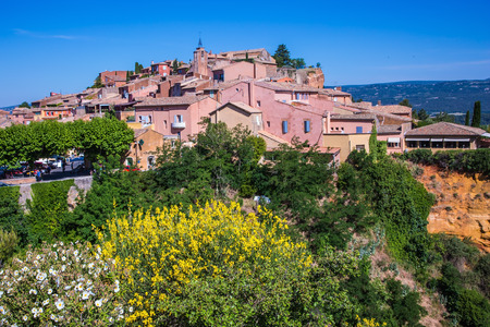 ochre: Roussillon, Red village of Provence. Picturesque pit of production of ochre - natural paint Stock Photo