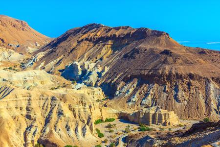 talus: Talud seco piedra arenisca multicolor pintoresco. Monta�as antiguas en el valle del Mar Muerto Foto de archivo