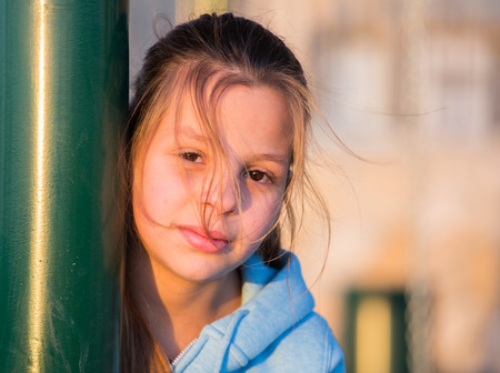 in the open air: Beautiful girl - teenager with brown eyes. Portrait made in the open air