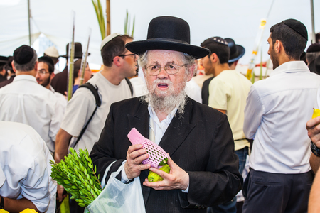 sukkoth: JERUSALEM, ISRAEL - OKTOBER 8, 2014: Traditional market before the holiday of Sukkot. Orthodox Jew with a white beard in a black hat chooses citrus - etrog