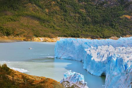 argentino: Los Glaciares National Park in Argentina. Colossal Perito Moreno glacier in Lake Argentino. Sunny summer day