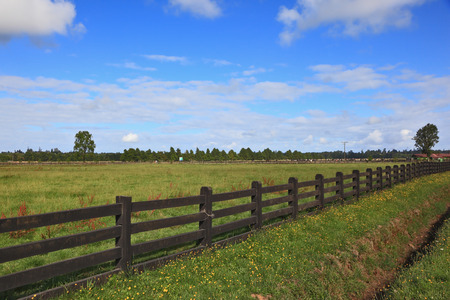 fenced: Steady herbal farmers field, fenced low wooden fence