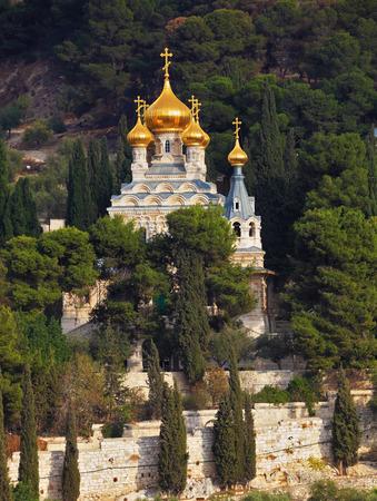 mount of olives: Mount of Olives in Jerusalem. Golden domes of the Church St. Mary Magdalene