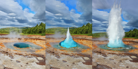Collage showing different phases of the action of the geyser. Geyser Strokkur in Iceland. Fountain Geyser throws hot water every few minutes