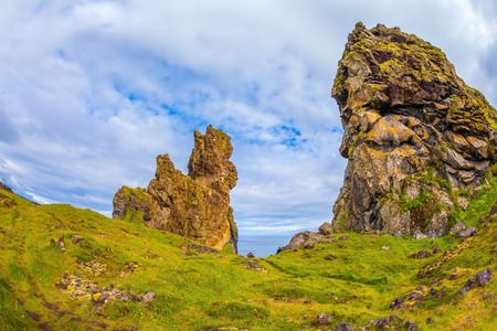 travel features: Magnificent Iceland. Northern sea coast. The picturesque ancient rocks covered with a green and yellow moss