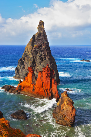 extremity: Atlantic storms. Colorful pinnacles lit sunset. Arid eastern tip of the island of Madeira Stock Photo