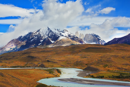 torres del paine: Beautiful Patagonia. Park Torres del Paine in southern Chile. Snow-capped mountains and emerald river Stock Photo