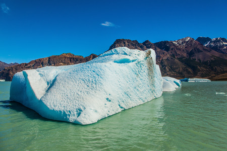 sheen: Argentina Patagonia, Lake Viedma. The huge white-blue iceberg drifts from coastal glacier in warm summer day