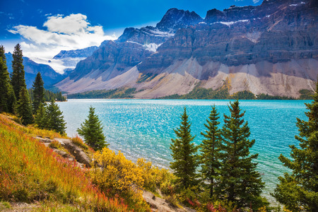 glows: Rocky Mountains of Canada. Sunny day at Bow Lake. Glacier Crowfoot glows in bright sunlight