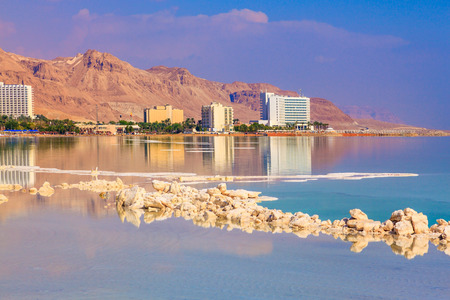 acts: The evaporated salt acts over a water surface beautiful patterns. Decrease in water level in the Dead Sea