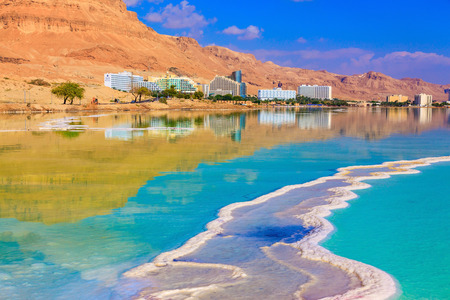 fused: Emerald water of the Dead Sea. Fused salt made on the surface of the water